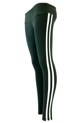 Triple Threat Striped Yoga Pant Leggings (Green/White)
